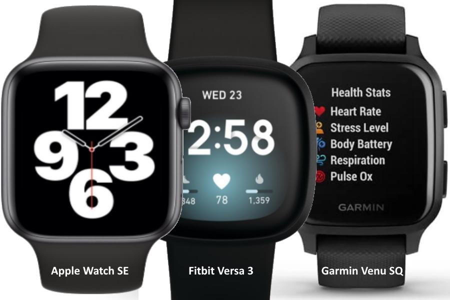 apple watch se vs fitbit versa 3 vs garmin venu sq